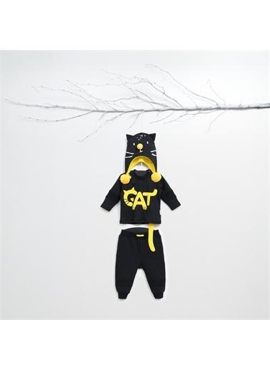 Zeo Wogi Cat 3 Lü Sweat Set-Siyah Wogi Cat 3 Lü Sweat Set-Siyah Siyah